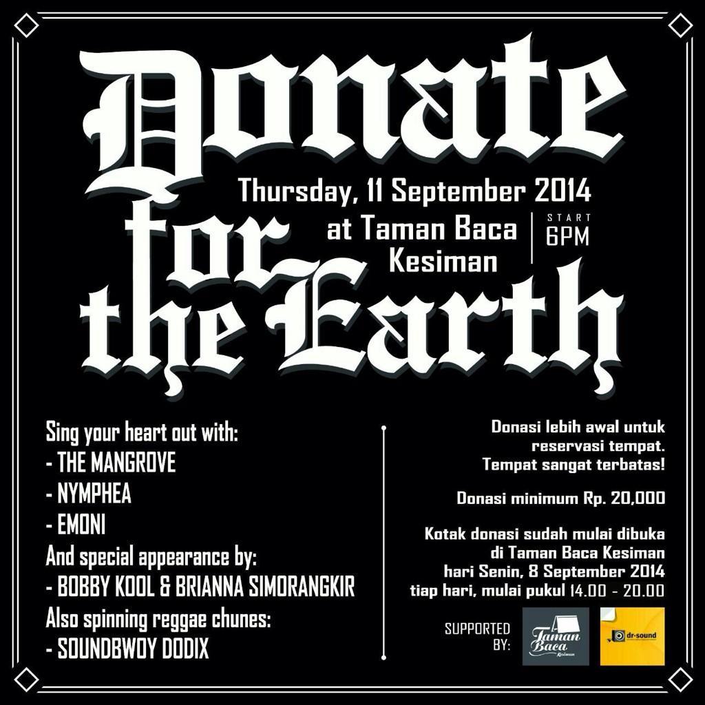 """Acara Musik: """"Donate for the Earth"""" Fundraising untuk ForBALI"""