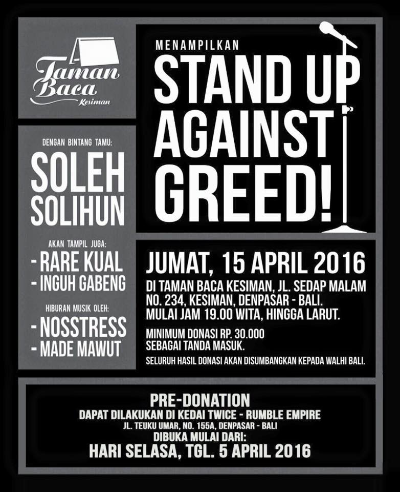 Stand Up Against Greed