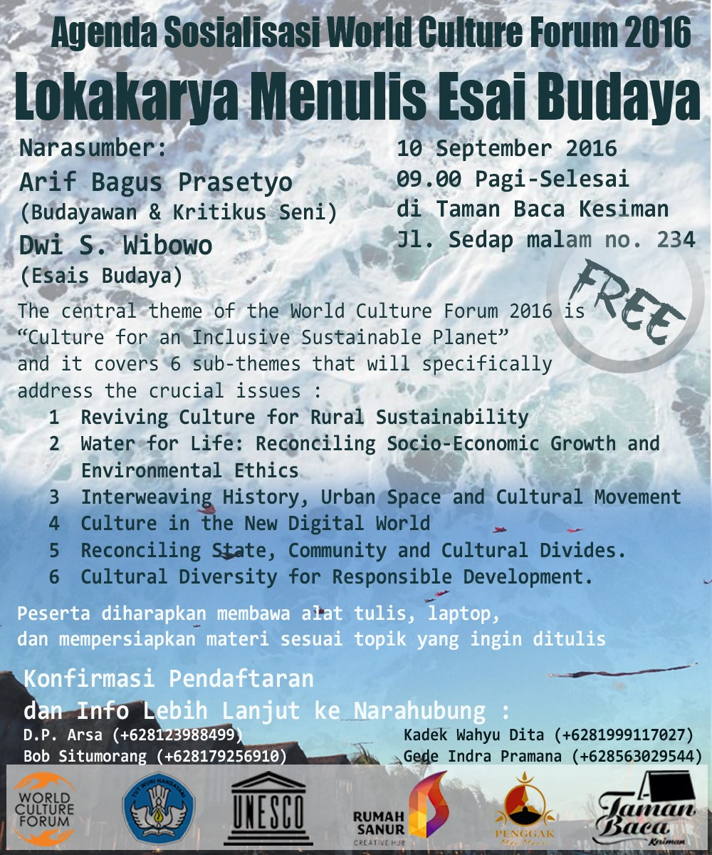 Sosialisasi World Culture Forum 2016, Lokakarya Menulis Esai Budaya