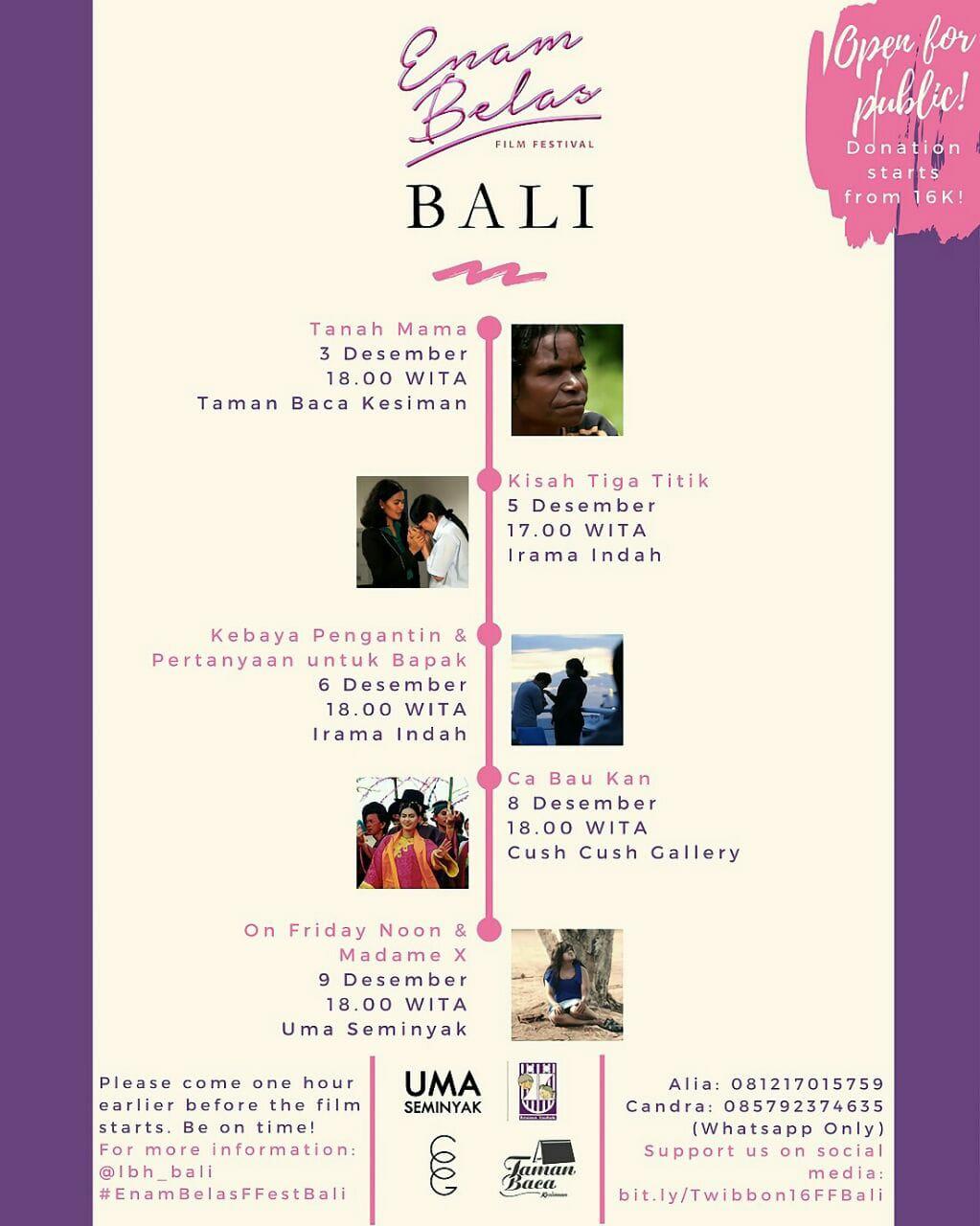 Enambelas Film Festival bersama LBH Bali 2017