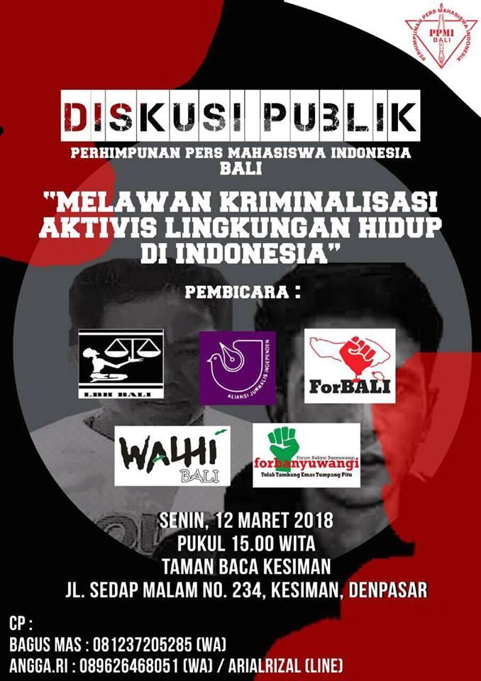 """Diskusi Publik """"Melawan Kriminalisasi Aktivis Lingkungan Hidup di Indonesia"""""""